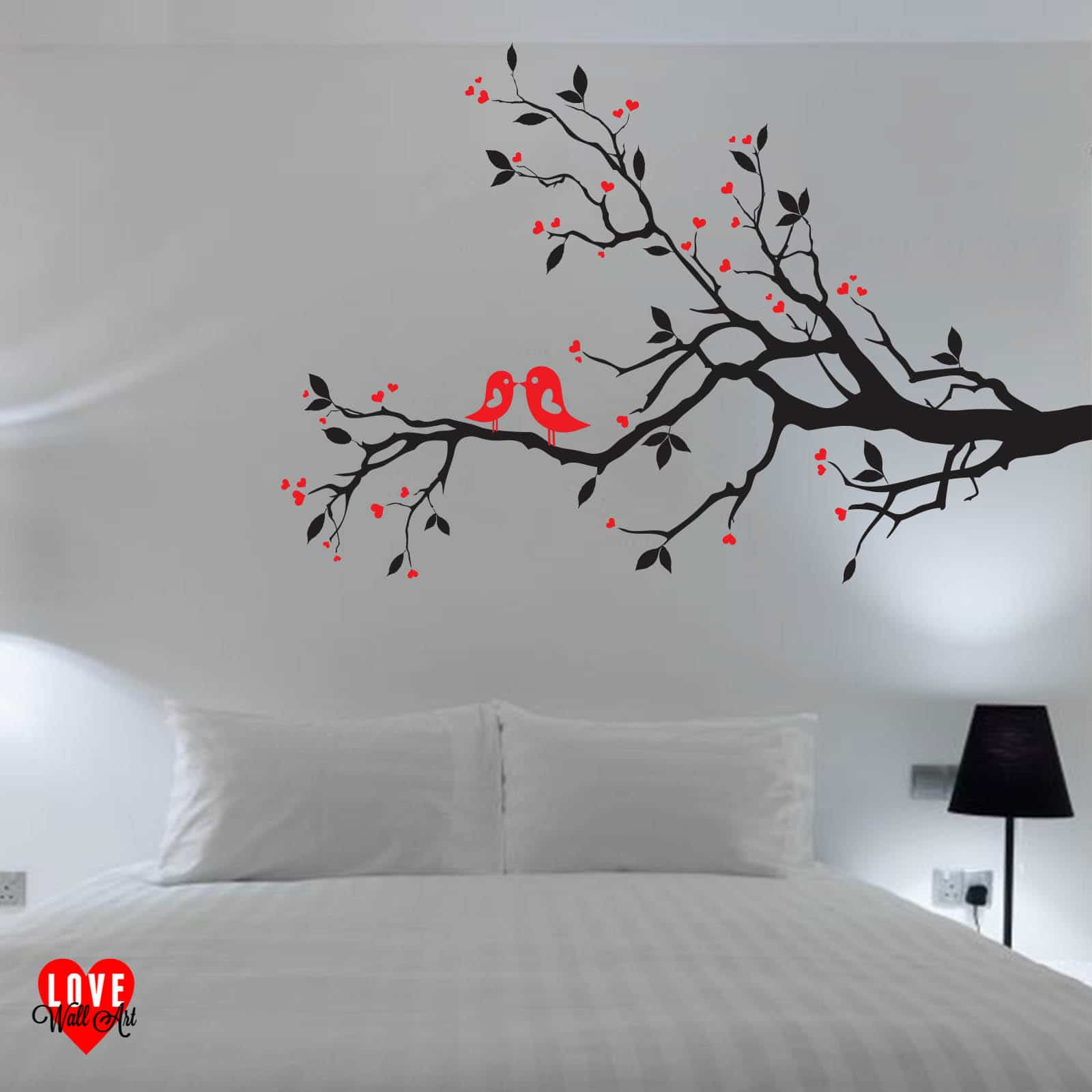 Love Birds on a Branch with Hearts design wall art wall