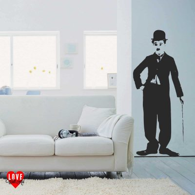 Charlie Chaplin lifesize silhouette wall art sticker