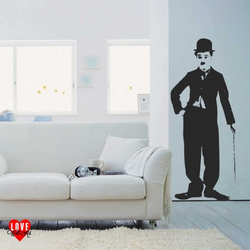 Charlie Chaplin lifesize silhouette wall art sticker