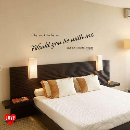 """If I lay here"" Snow Patrol song lyric wall art sticker"