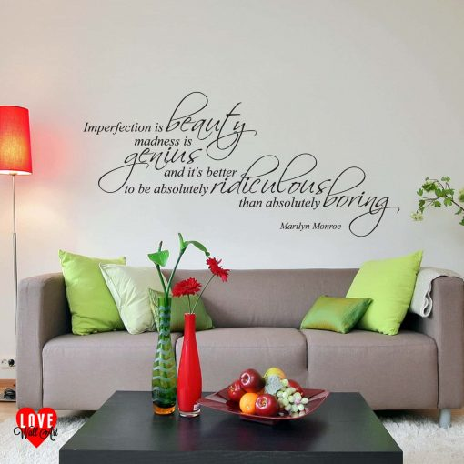 """Imperfection is beauty"" Marilyn Monroe wall art sticker"