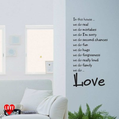 """In this house we do ... Love"" quote wall art sticker"