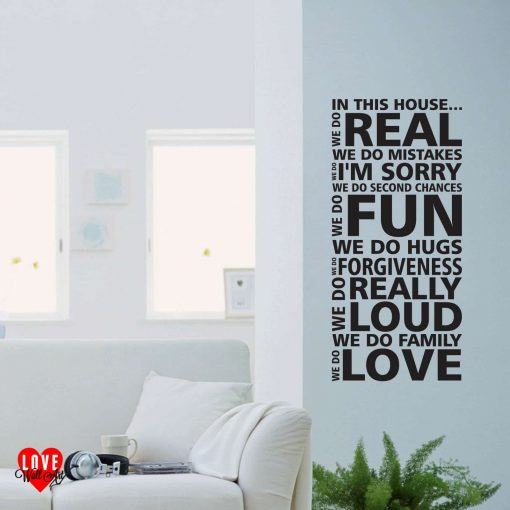 """In this house ... we do Love"" quote wall art sticker"