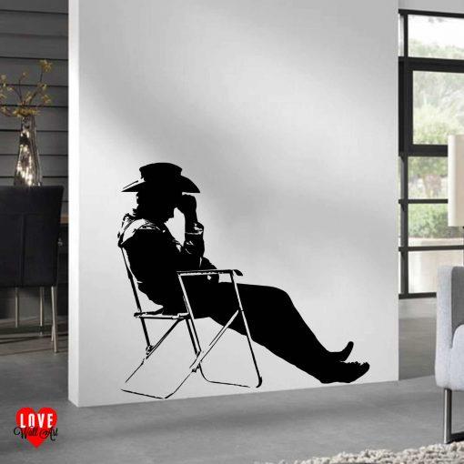 James Dean deckchair silhouette large wall art sticker