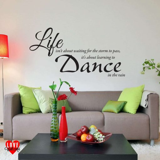 """Life isn't about waiting"" quote wall art sticker"