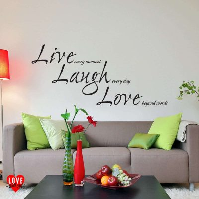 """Live Laugh Love"" quote wall art sticker"