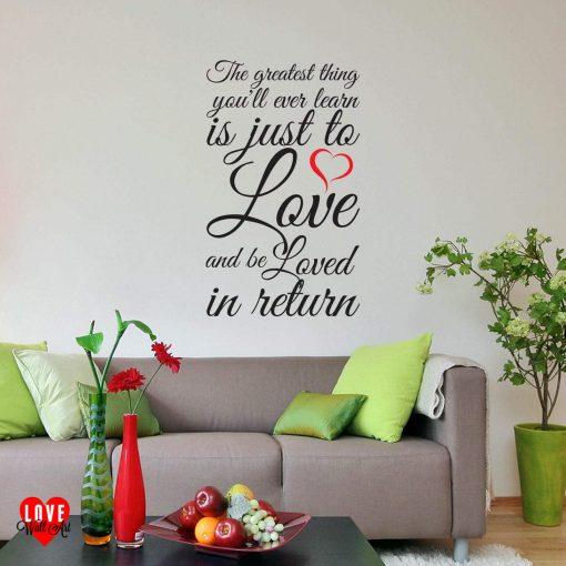 """""""The greatest thing you'll ever learn"""" love heart Moulin Rouge quote wall art sticker"""
