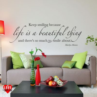 Life is a beautiful thing Marilyn Monroe quote wall art sticker