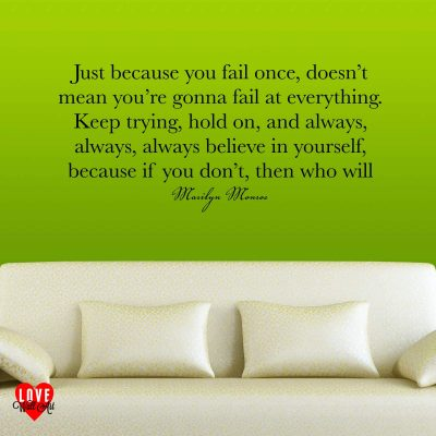 Marilyn Monroe quote Just because you fail once wall art sticker