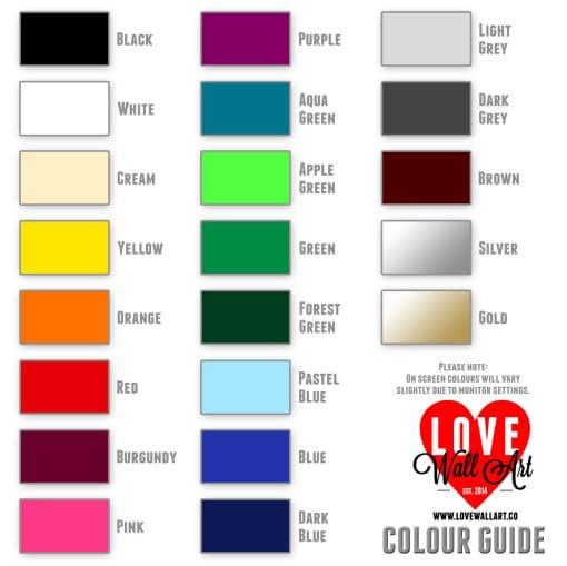 LoveWallArt Colour Guide