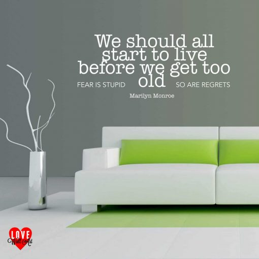"""""""We should all start to live"""" Marilyn Monroe quote wall art sticker"""