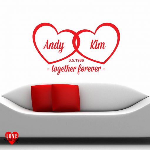 """""""Together Forever"""" personalised wall art sticker"""