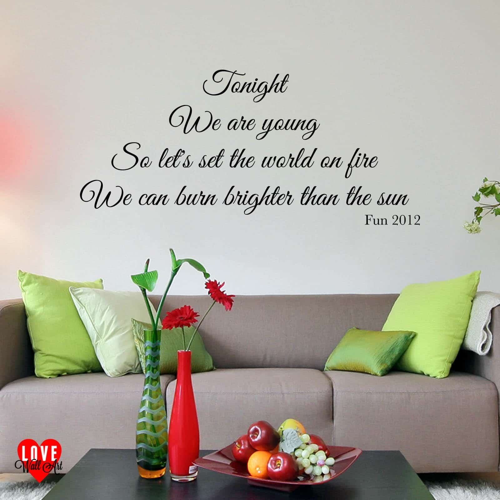 Fun song lyrics wall art sticker We are young for living room ...