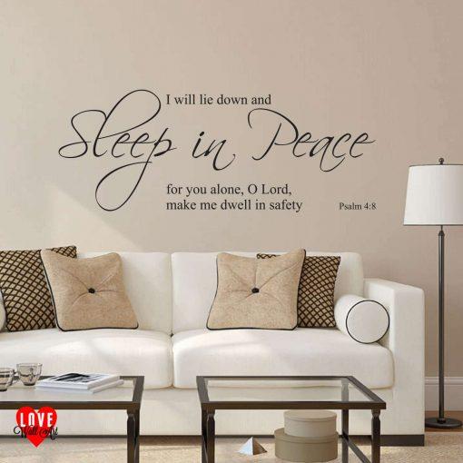 Sleep in Peace Psalm 4:8 prayer quote wall art sticker