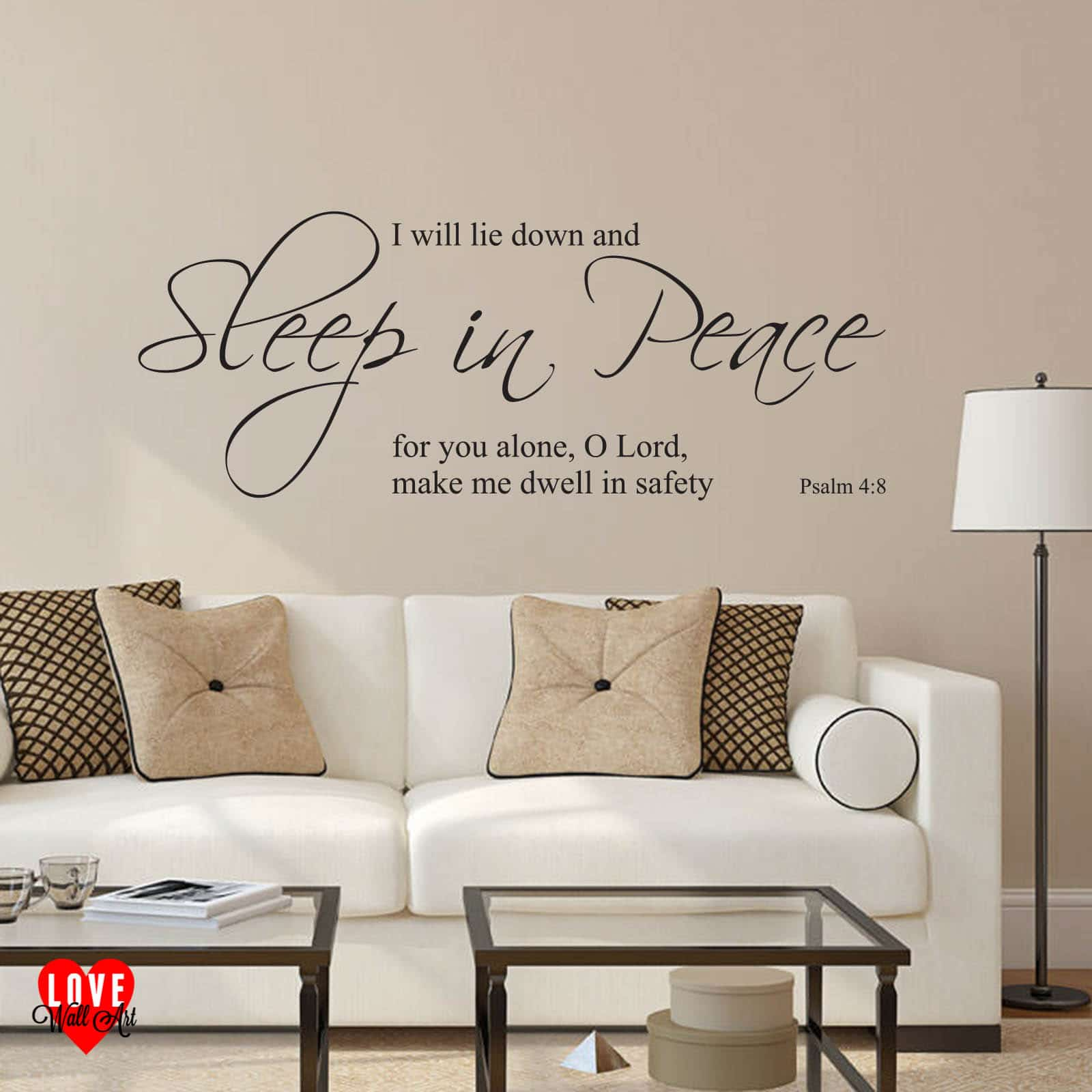 Wall Quote Sticker Sleep In Peace Psalm 4 8 Prayer Wall Art Sticker